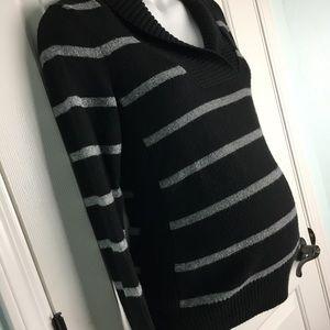 Old Navy Maternity Shawl Collar Stripe Sweater